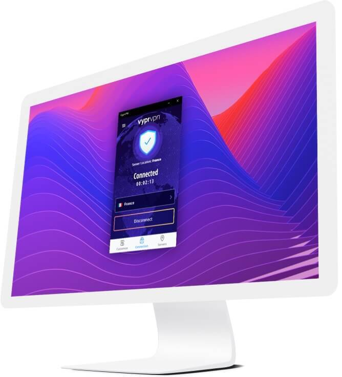iMac monitor with VPN app for Mac connection on screen